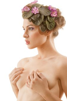 Nude Girl With A Wreath Of Flowers On Her Head