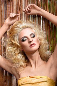 552c970305 ... Free Beautiful Blonde In Gold Dress On The Background O Royalty Free  Stock Photo - 15534025
