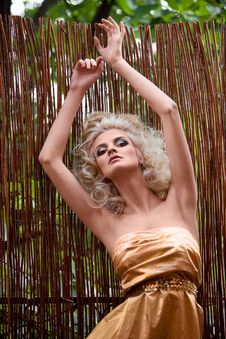Free Beautiful Blonde On The Background Of Bamboo Fence Royalty Free Stock Photo - 15534065