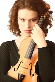 Free Beautiful Woman With Violin Stock Photography - 15534442
