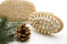 Free Massage Brush With Fir Cones Stock Photos - 15535123