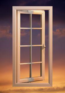Free Modern Plastic Pvc Window Floating In Twilight Sky Royalty Free Stock Image - 15535286