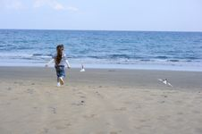 Free Toddler Girl In Sun Hat On The Beach With Seagull Stock Photos - 15536183