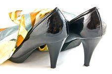 Free Black Shoes And Shawl On White Background Stock Photo - 15537010