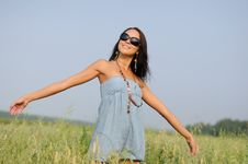 Free Woman With Glasses In The Field Stock Photos - 15537283