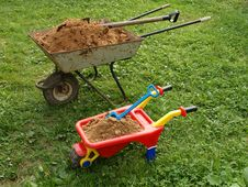 Free Two Wheelbarrows Royalty Free Stock Photo - 15538185