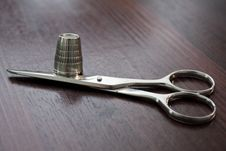 Scissors And Thimble Stock Images