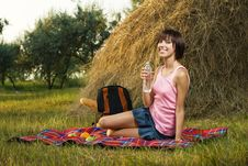 Lovely Girl On Picnic Stock Photo