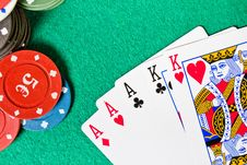 Poker Cards And Chips Royalty Free Stock Photos