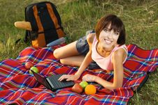 Lovely Girl On Picnic Royalty Free Stock Photography