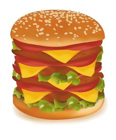Free Triple Cheeseburger. Royalty Free Stock Photos - 15539688