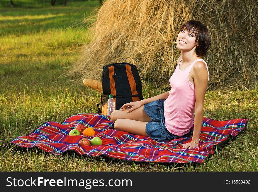 Lovely girl on picnic