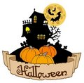 Free Haunted House With Halloween Banner Stock Image - 15549121