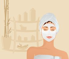 Free Closed Eye Girl With Facial Mask Stock Images - 15540504