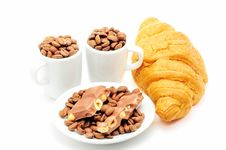 Cups With Coffee And Croissant Stock Image