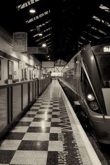 Free Passenger Train Inside The Station, Monochromatic Royalty Free Stock Photos - 15541158