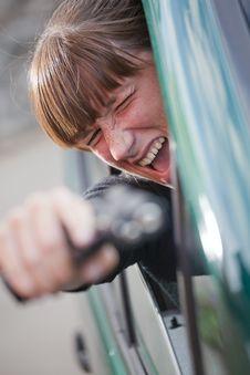 Free Screaming Woman Shooting From Gun Stock Image - 15541181