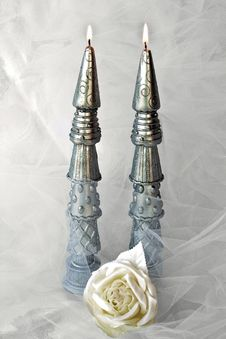 Silver Candles With Netting And Rose Stock Photography