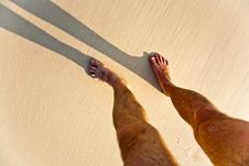 Free Feet Of Man With Shadow At The Beach Royalty Free Stock Image - 15541346