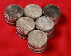 Free Stacks Of US Silver Dollars Stock Images - 15541574