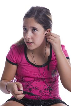 Free Girl Listen To Music On The Headphones Stock Image - 15541581