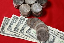 Free USA Silver Dollar Bills And Silver Coins Royalty Free Stock Photo - 15541625
