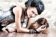 Free Model With Dog Royalty Free Stock Images - 15541749