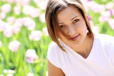 Free Beautiful Girl With Tulip Flowers Royalty Free Stock Photo - 15541835