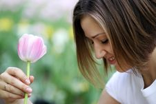 Free Beautiful Girl With Tulip Flowers Stock Photography - 15541842