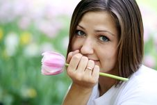 Free Beautiful Girl With Tulip Flowers Royalty Free Stock Images - 15541849
