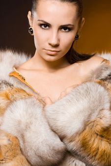 Free Woman In A Fur Coat Stock Photography - 15541982
