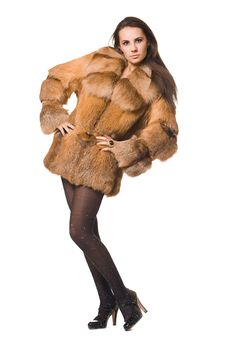 Free Woman In A Fur Coat Royalty Free Stock Image - 15542106