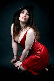 Sexy Woman In Red Dress Stock Photos