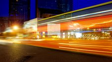 Free High Speed And Blurred Bus Light Trails Royalty Free Stock Photo - 15542975