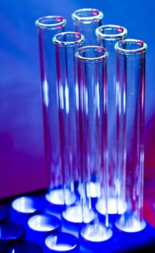 Free Glowing Test Tubes In Rack Stock Photos - 15543023