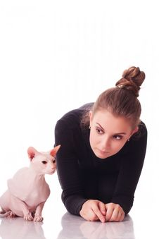 Free Woman With A Cat Royalty Free Stock Photos - 15544568