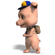 Cute Toon Pig As A Boy Scout Stock Photo