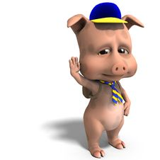 Cute Toon Pig As A Boy Scout Stock Images