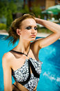 Free Yong Girl With The Pool Behind Her Royalty Free Stock Photos - 15551778