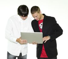 Free Two Businessmen Looking At Laptop Royalty Free Stock Images - 15550279