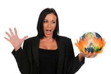 Businesswoman Holding The Earth On Fire Stock Images