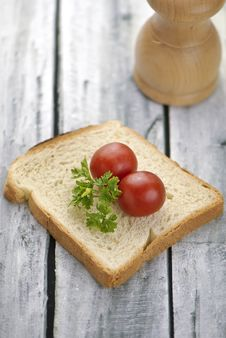 Aranged Food Two Tomatoe On Toast Stock Image