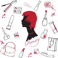 Free Set Of Various Cosmetic Items Royalty Free Stock Images - 15553239