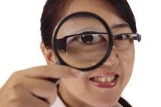 Free Woman With Magnifying Glass Stock Image - 15553951