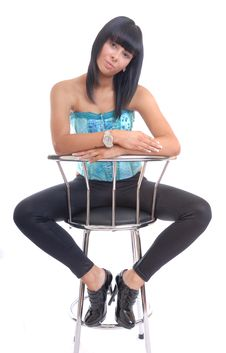 Free Cute Young Girl Portrit Sat On Stool Stock Image - 15554701