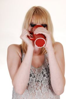 Free Girl Thinking Coffee. Royalty Free Stock Photo - 15555055