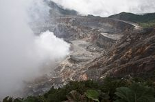 Poás Volcano Crater In Costa Rica Stock Images