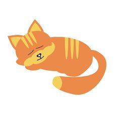 Free Sleeping Cat On White Background Stock Image - 15556431