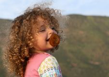 Free Laughing Angelic Curly Little Girl With Soother Stock Photography - 15556692