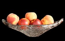 Free Ripe Nectarines And Peaches In A Crystal Vase Royalty Free Stock Image - 15556806